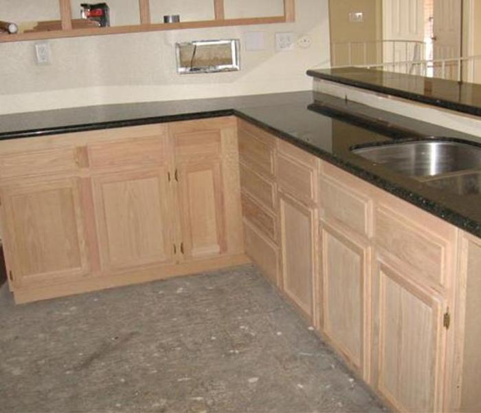residential kitchen cabinetry stain and re-face Before